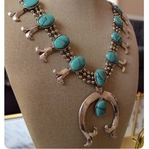 Squash Blossom Silver / Turquoise Necklace